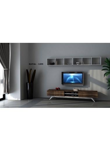 Sanal Mobilya Hayal 1255 Tv Ünitesi Leon Ceviz/Parlak Beyaz Beyaz